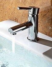 Qualit?ts-Chrom-Finish Messing Waschbecken Wasserhahn - Silber