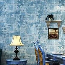 Qualitativ hochwertige Kinder- Vlies Tapete blau Maple Leaf Lounge, Schlafzimmer tv Hintergrund, grau blau