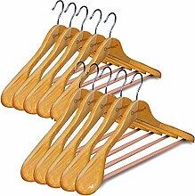 Qualsen Holz-Kleiderbügel mit breiten Schultern,