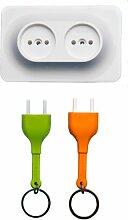 Qualy QL10149O Schlüssel-aufbewahrung/anhänger Double Unplug Key Ring inklusive 3M Klebestreifen zur Befestigung, orange