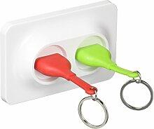 Qualy QL10149R Schlüssel-aufbewahrung/anhänger Double Unplug Key Ring inklusive 3M Klebestreifen zur Befestigung, ro