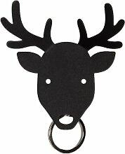 Qualy QL10153B Schlüsselaufbewahrung Reh Deer Key Holder Metall 4,6 x 9,5 x 9,5 cm, schwarz