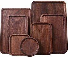 Quanjucheer Holztablett für Snacks, rund,