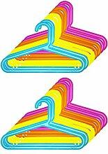 Quantio 16er Set Kinder Kleiderbügel - Kunststoff, 33,5 x 20,5 cm (BxH), Blau, Gelb, Orange und Pink, mit Hosensteg und Einkerbung für Kleider und Träger