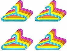 Quantio 32er Set Kinder Kleiderbügel - Kunststoff, 33,5 x 20,5 cm (BxH), Blau, Gelb, Orange und Pink, mit Hosensteg und Einkerbung für Kleider und Träger