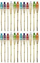 Quantio Bambus Gartenfackeln Set BUNT - 60 cm,