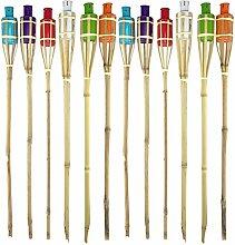 Quantio Bambus Gartenfackeln Set Bunt - 90 cm,