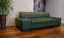 Quattro Meble Grün Echtleder 2,5 Sitzer Sofa