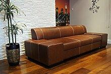 Quattro Meble Super Lange Echtleder 3 Sitzer Sofa