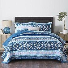 Qucover Tagesdecke Baumwolle Blau 220 x 240 cm,