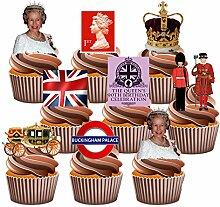 Queen 's 90. Geburtstag Kuchen Dekorationen–36Essbar Stand-up Cupcake Topper