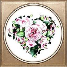 queence Acrylglasbild Herz aus Blüten bunt