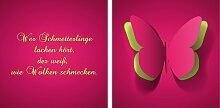 queence Leinwandbild Schmetterling (Set) 80x40 cm