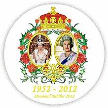 QUEENS DIAMOND JUBILEE Pinback, pin-button, Geschenkidee, 45 mm