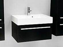 Quentis Badmöbelset Zeno, Breite 70 cm, Waschplatz 2-teilig, Unterschrank mit einer Schublade, Front und Korpus schwarz glänzend