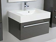 Quentis Badmöbelset Zeno, Breite 70 cm, Waschplatz 2-teilig, Unterschrank und Waschbecken, Front und Korpus anthrazit glänzend