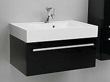 Quentis Badmöbelset Zeno, Breite 80 cm, Waschplatz 2-teilig, Unterschrank mit einer Schublade, Front und Korpus schwarz glänzend