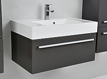 Quentis Badmöbelset Zeno, Breite 80 cm, Waschplatz 2-teilig, Unterschrank mit Waschbecken, Front und Korpus anthrazit glänzend