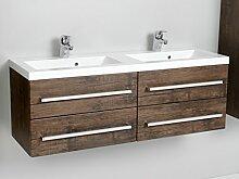 Quentis Doppelwaschplatz Genua 120, Waschplatzset 3-teilig, 4 Schubladen, Front und Korpus Holzdekor antik