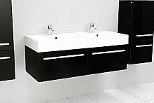 Quentis Doppelwaschplatz Zeno, Breite 120 cm, Waschplatz 3-teilig, Waschbeckenunterbau mit zwei Schubladen, Front und Korpus schwarz glänzend