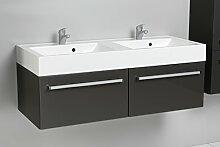 Quentis Doppelwaschplatz Zeno, Breite 120 cm, Waschplatz 3-teilig, Waschbeckenunterbau mit Waschbecken, Front und Korpus anthrazit glänzend