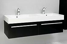 Quentis Doppelwaschplatz Zeno, Breite 140 cm, Waschplatz 3-teilig, Waschbeckenunterbau mit zwei Schubladen, Front und Korpus schwarz glänzend