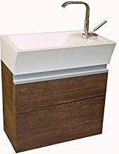 Quentis Gäste WC Set Faros, Breite 40 cm, Waschbecken und Unterschrank, Front und Korpus Holzdekor antik