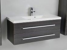 Quentis Waschplatz Genua 100, 2-teilig, silbergrau glänzend, 2 Schubladen