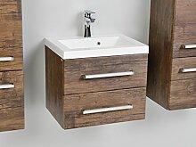 Quentis Waschplatz Genua 50, 2-teilig, 2 Schubladen, Front und Korpus Holzdekor antik