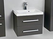 Quentis Waschplatzset Genua 50, 2-teilig, Waschbecken und Unterschrank, Front und Korpus anthrazit glänzend, 2 Schubladen