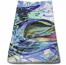 QuGujun Bulk Towels Blue Dolphin Watercolor