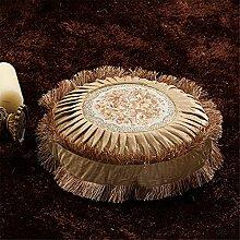 Quibine Vintage Luxuriöses rundes Samtkissen mit gestickter Blumendekoration Kopfkissen Sofakissen Dekokissen Kissenbezüge Throw Pillow, Pillow Case für Sofa, Auto, Bett, Camel, Durchmesser Ca.40 CM, Kissen eingeschlossen