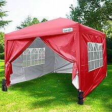 Quictent Pavillon 3m x 6m rot leicht Pop-Up