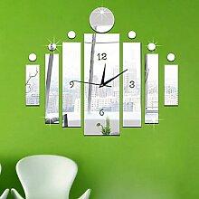 Quietness @ Acryl 3D DIY Spiegel Aufkleber Wanduhren Neuheit Home Decor Vintage Watch Wand für Wohnzimmer, Gold