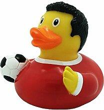 Quietscheente Fußballer Ente Rot, Gummiente,