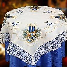 Quinnyshop Advent Weihnachten Blaue Kerzen und Glocken Stickerei Mitteldecke 85 x 85 cm Spitzen Satin-Optik, Weiß