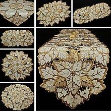 Quinnyshop Blatt Tischband Tischläufer Tischdecke creme-weiss braun Herbst Stickerei - Größe wählbar (ca. 30 x 160 cm)