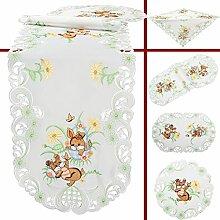 Quinnyshop Braune Hasen Blumen Ostern Stickerei