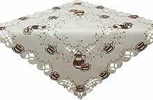Quinnyshop Braune Teekanne Tasse Stickerei Tischdecke Mitteldecke ca. 85 x 85 cm Polyester, Weiß Braun