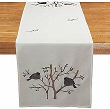 Quinnyshop Grau Vogel auf Ast Stickerei Tischdecke