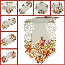 Quinnyshop Herbst Tischläufer Tischdecke Weiß