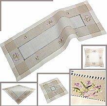 Quinnyshop Lavendel Stickerei mit Hohlsaum Mitteldecke 85 x 85 cm Eckig Leinen, Ecru