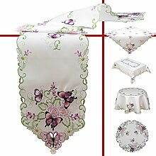 Quinnyshop Lila Schmetterlinge und Blumen Stickerei Tischdecke 130 cm Rund Polyester, Weiß