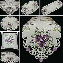 Quinnyshop Lila Stiefmütterchen Stickerei Tischläufer 30 x 160 cm Zugespitzt Polyester, Weiß