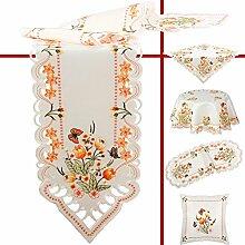 Quinnyshop Orange Tulpen und Schmetterlinge Stickerei Mitteldecke 85 x 85 cm Eckig Polyester, Weiß