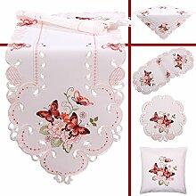 Quinnyshop Rosa Schmetterlinge Stickerei Frühling