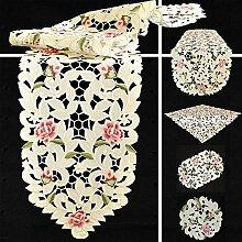 Quinnyshop Rosenblüten Durchbruchsstickerei Tischläufer 45 x 170 cm Oval Polyester, Creme