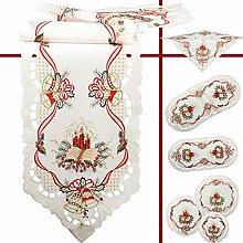 Quinnyshop Rot Kerze Glocke Weihnachten Stickerei