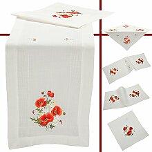 Quinnyshop Roter Klatschmohn Blume Frühling Stickerei Tischdecke Tischläufer ca. 40 x 160 cm Polyester, Weiß