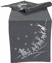 Quinnyshop Weihnachtsmann Rentier Schlitten Stickerei Tischläufer Tischband 40 x 160 cm Polyester, Grau